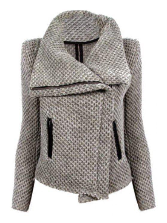 shops Gray Turn-Down Collar Long Sleeve Coat - GRAY S