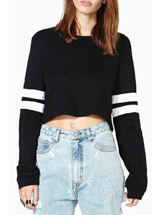 outfits Stripes Long Sleeve Cropped Sweatshirt - BLACK M