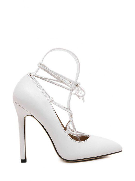 affordable Solid Color Criss-Cross Pointed Toe Pumps - WHITE 39