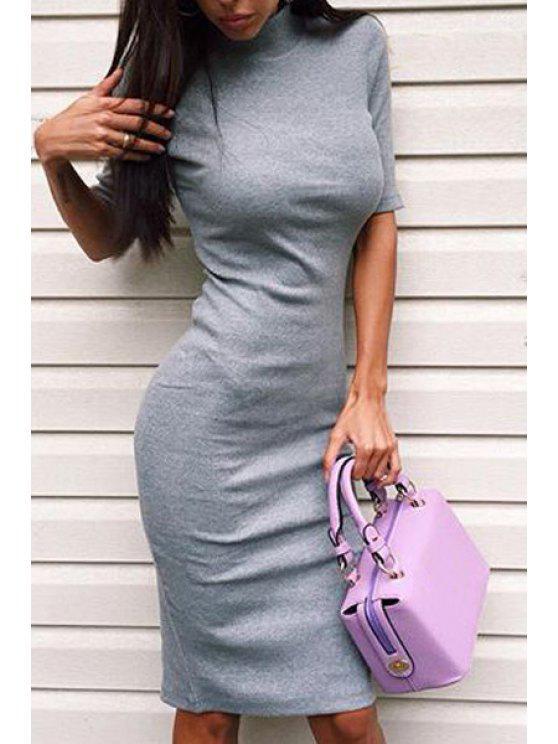 affordable Half-Collar Half Sleeve Gray Bodycon Dress - GRAY M