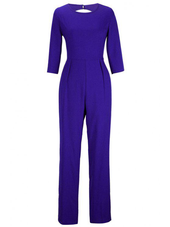 shops Backless Solid Color Round Collar Jumpsuit - SAPPHIRE BLUE M