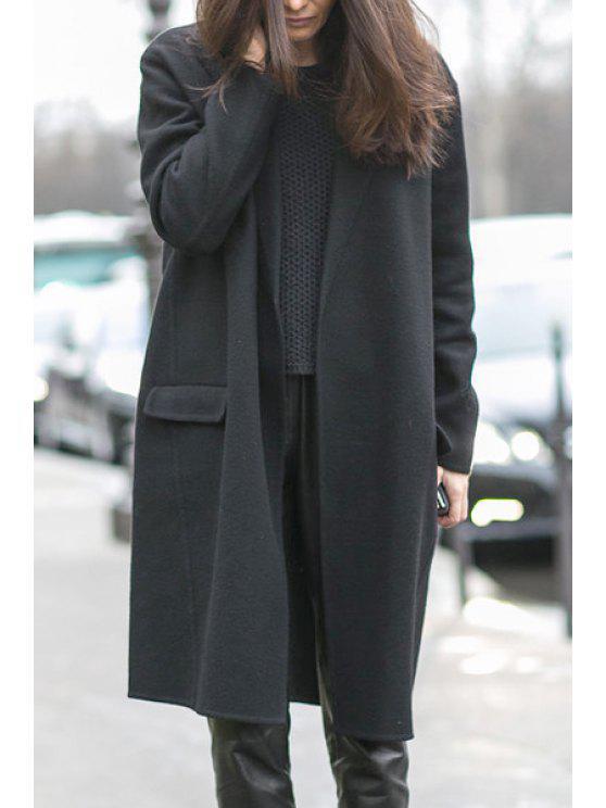 Manteau noir ouvert de conception de poche avant - Noir L