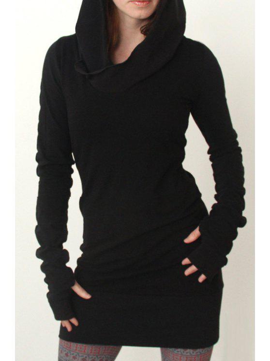 women's Black Hooded Long Sleeve Dress - BLACK L