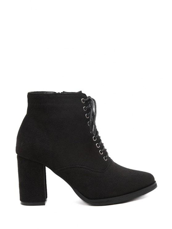 new Pointed Toe Lace-Up Suede Short Boots - BLACK 36