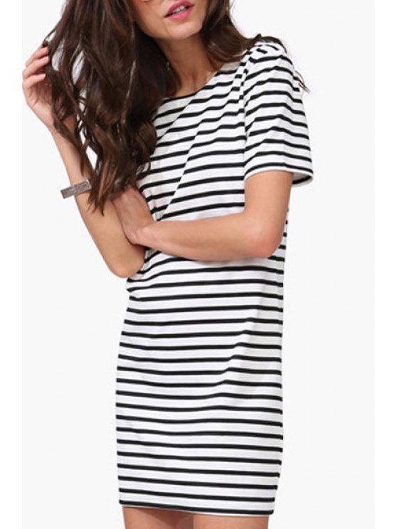 129cc42da3a 2019 Striped Round Collar Short Sleeve T-Shirt Dress In WHITE AND ...
