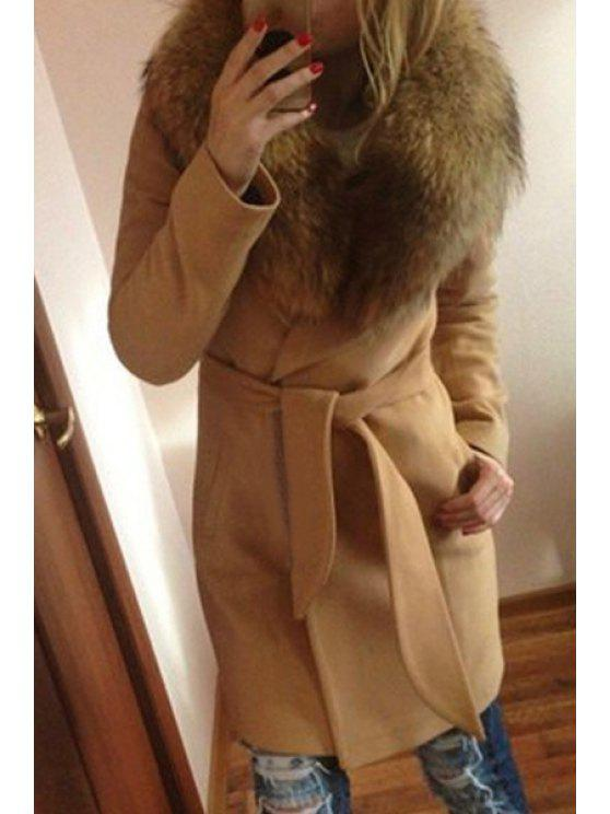 sale Solid Color Long Sleeve Fur Collar Coat - CAMEL 2XL