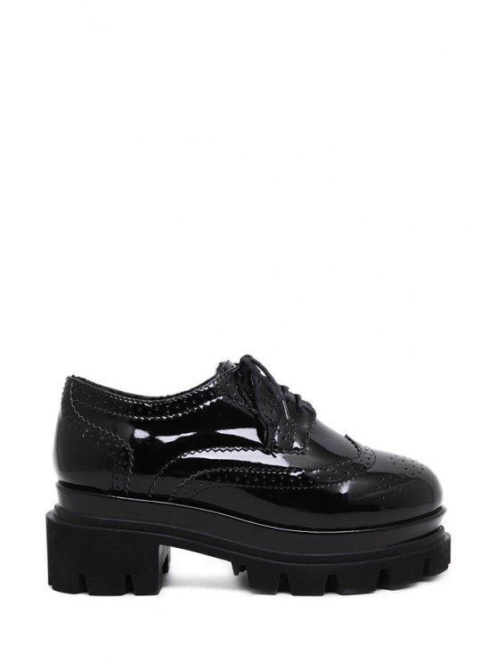 2019 Black Engraving Patent Leather Platform Shoes In BLACK 38  6529422f5