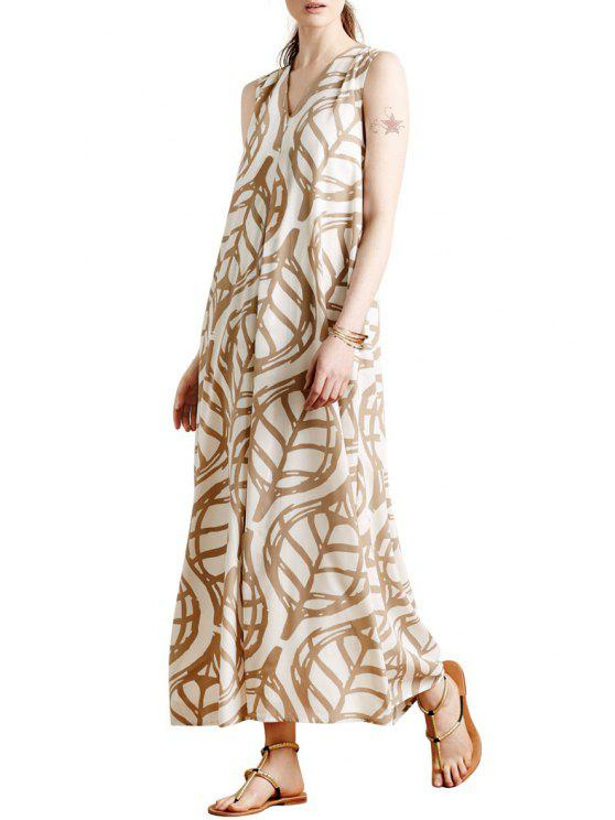 affordable Sleeveless Leaf Print A-Line Maxi Dress - WHITE M