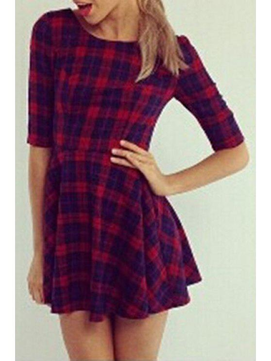 chic Half Sleeve Plaid Fit and Flare Dress - RED M