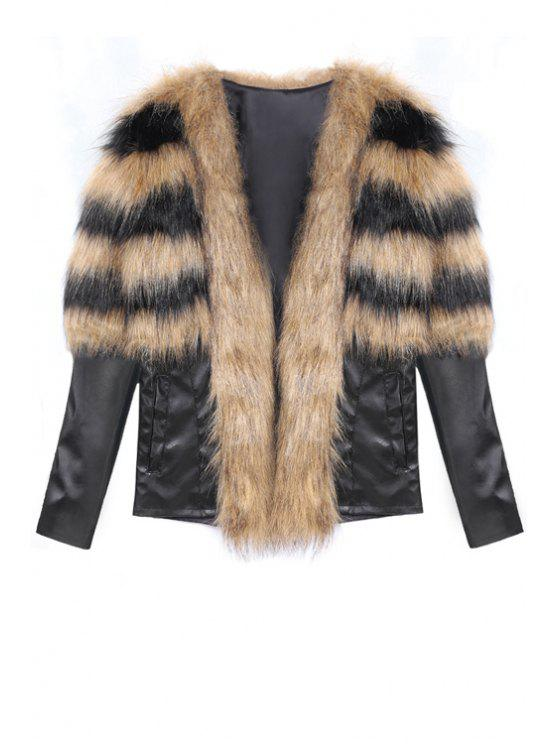 shop Faux Fur Spliced Long Sleeve Coat - BROWN L