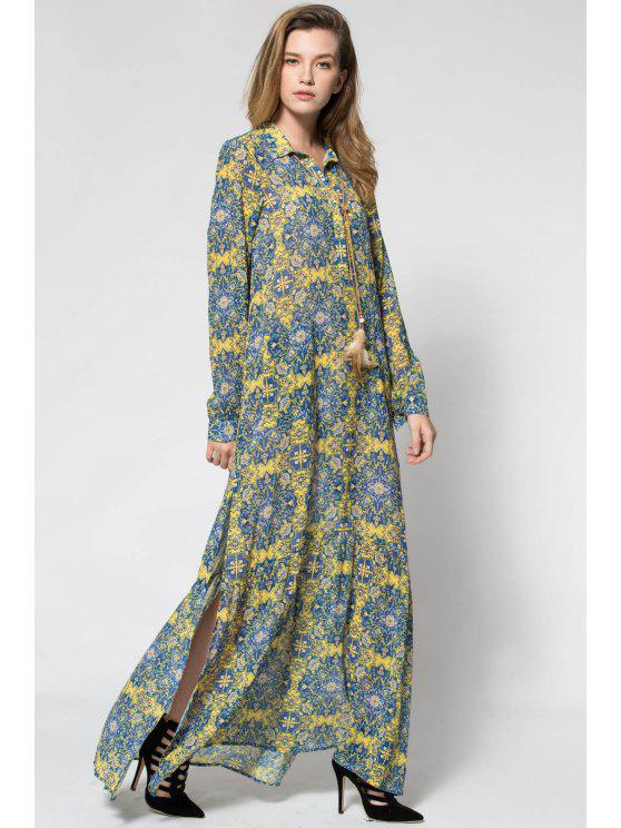 lady Yellow Print Plunging Neck Long Sleeve Maxi Dress - YELLOW S