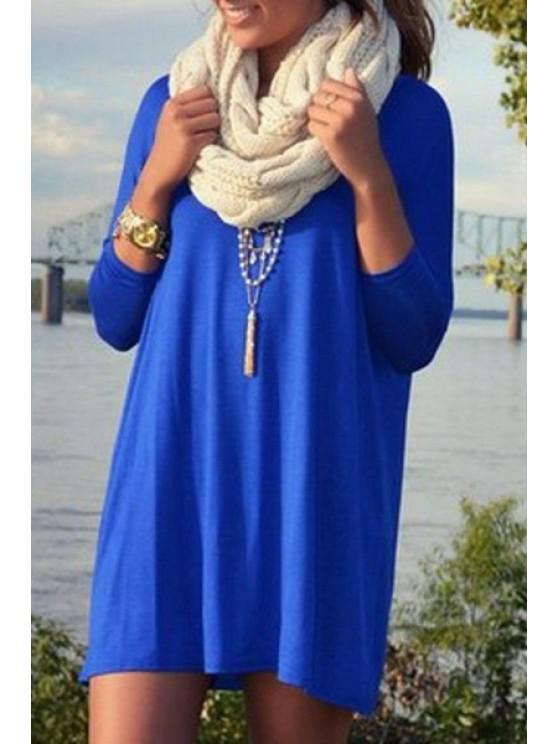 trendy Long Sleeve A-Line Blue Dress - BLUE XL
