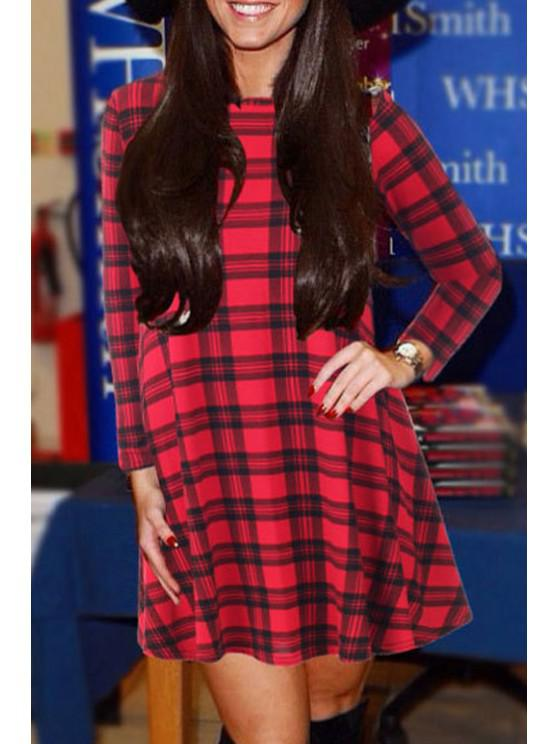 buy Round Neck Long Sleeve Plaid Dress - RED M