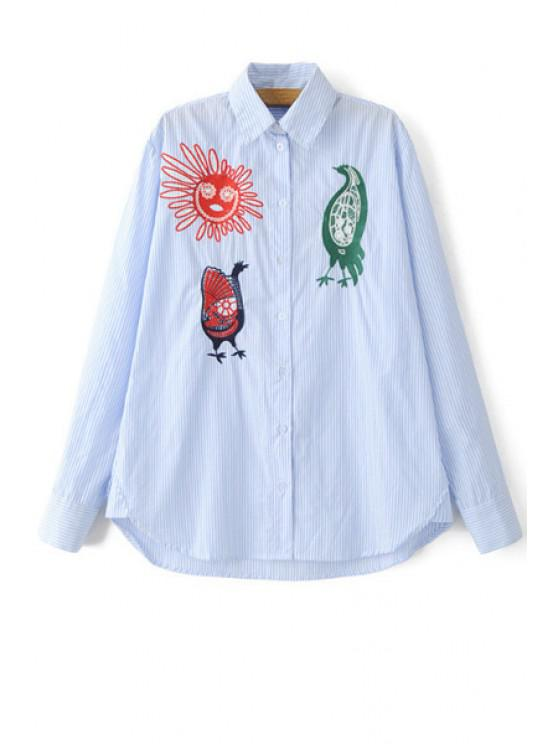 unique Embroidery Print High-Low Hem Flat Collar Shirt - LIGHT BLUE L