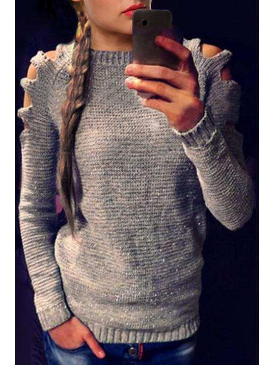 Cut Out Round Neck Long Sleeves Jumper - Grau S