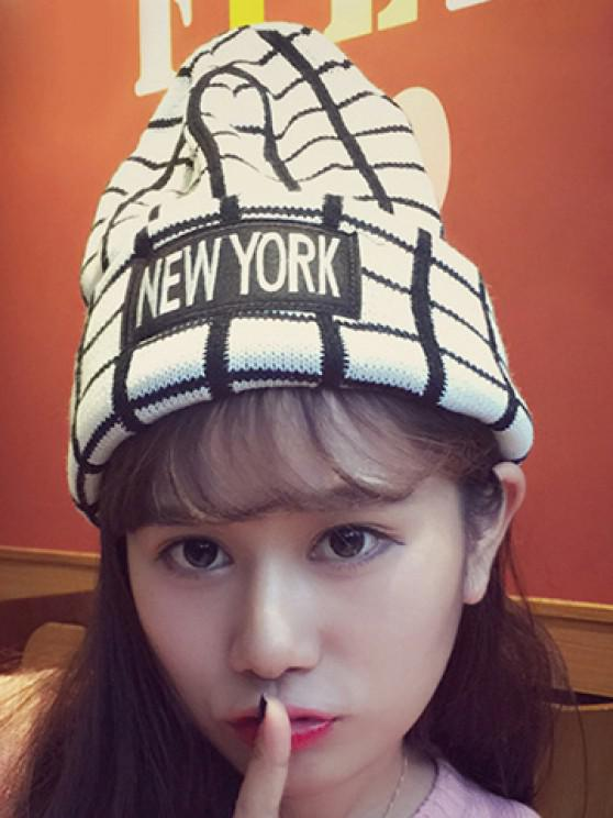 Chic Letters Applique Embellished Gingham Pattern Knitted Beanie For Women - أبيض