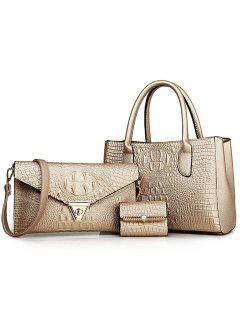 Charming Crocodile Print And PU Leather Design Women's Tote Bag - Golden