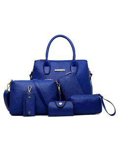 Graceful Pure Color And Embossing Design Women's Tote Bag - Blue