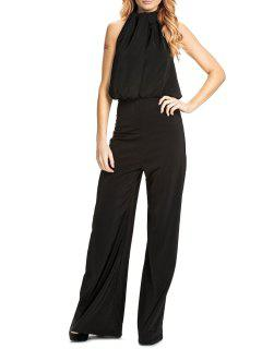 Halter Backless Black Palazzo Jumpsuit - Black Xl