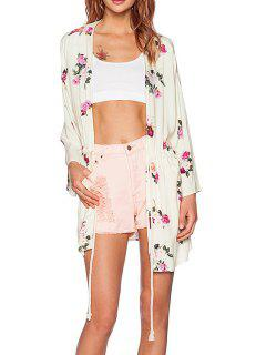Floral Print Drawstring Trench Coat - Off-white M