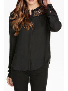 Single-Breasted Lace Patchwork Chiffon Shirt - Black L