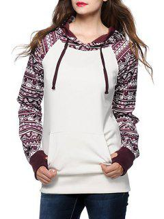 Ethnic Print Spliced Long Sleeve Pullover Hoodie - White Xl