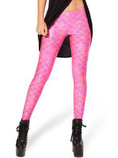 Fish Scale Print Sexy Bodycon Leggings - Pink Xl