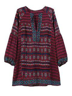 Argyle Print Square Neck Long Sleeve Blouse - Red M