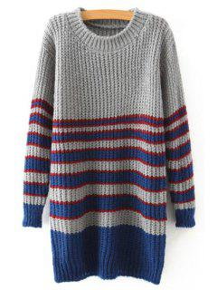 Stripe Jewel Neck Long Sleeve Jumper - Gray