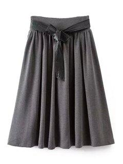 A-Line Self-Tie Belt Midi Skirt - Gray L