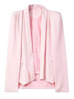 Shawl Neck Cape Design Pink Blazer - Pink L