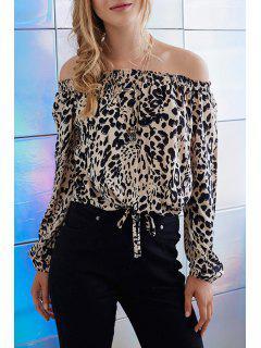 Leopard Print Off The Shoulder Long Sleeve Blouse - Leopard M