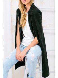 Pure Color Asymmetric Double-Faced Cape Coat - Black M