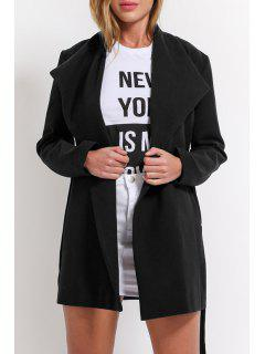 Pure Color Turn-Down Collar Pockets Coat - Black M