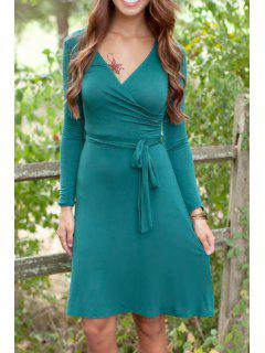 Solid Color V Neck Long Sleeves Dress - Green M