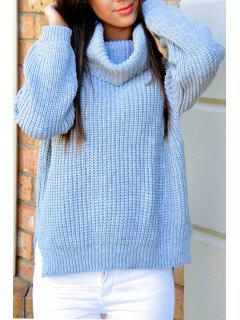 Pure Color Knitted Loose Fitting Turtle Neck Sweater - Blue