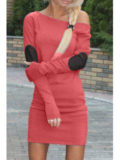 Applique Slimming Sloping Neck Long Sleeves Dress - Watermelon Red Xl