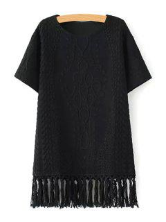 Short Sleeve Fringed Straight Dress - Black L