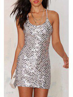 Sequins Spaghetti Strap Bodycon Dress - Silver 2xl