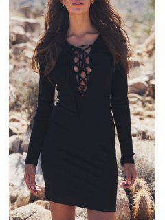 Lace-Up Bodycon Solid Color Long Sleeves Dress - Black Xl