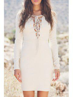 Lace-Up Bodycon Solid Color Long Sleeves Dress - Off-white Xl