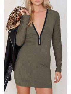 Pure Color Zipper Embellished Bodycon Plunging Neck Dress - Green L