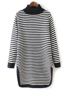 Turtle Neck Striped Side Slit Sweater - Black And White
