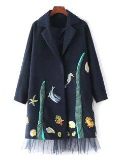 Lapel Embroidered Voile Hem Wool Coat - Blue L
