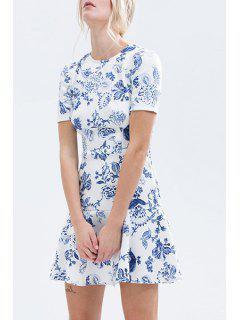 Blue And White Ruffled Dress - White 2xl