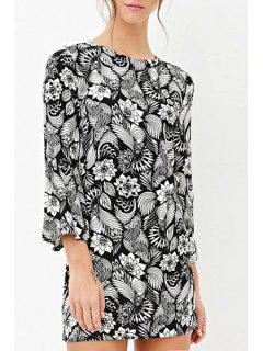 Round Neck Bell Sleeve Floral Dress - Black And White 2xl