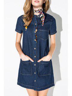Blue Denim Shirt Neck Short Sleeve Dress - Blue M