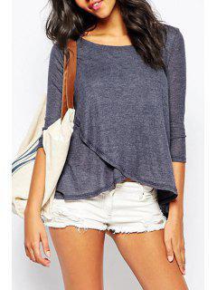 3/4 Sleeve Blue Overlap T-Shirt - Blue Xl