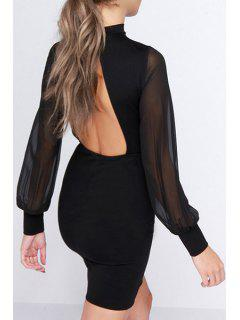 Backless Stand Neck Long Sleeve Bodycon Dress - Black 2xl