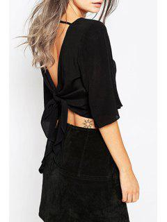Solid Color Backless Lace-Up Half Sleeves Blouse - Black Xl